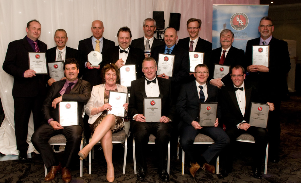 IADC North Sea Chapter Safety Awards Winners and Runners-up 2013 (left to right): FRONT ROW: Julian Hall, Ensco; Jane Findlater, KCA Deutag; George Cheyne, Stena Drilling; Brian Innes, Stena Drilling; Robbie Garden, ScanTech Offshore; BACK ROW: Tony Slater, Noble Drilling; Ray Taylor, Archer; Paul Ellis, Archer; Gary Stuart, Northern Offshore; Steve Rae, Archer; Kenny Dey, Archer; Arild Pettersen, KCA Deutag; Paul Horne, KCA Deutag; Mike McLellan, Archer.