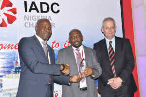 KCA Deutag Nigeria Limited is awarded Best HSE Performance for 2014. From L to R: Sola Falodun, IADC Nigeria Chapter Chairman; Tokundo Akinuli, Chapter Secretary, who accepted the award on behalf of KCA Deutag and Markus Droll, Vice President Nigeria & Gabon, Shell Exploration and Production Africa Limited.