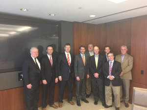 On 30 March, several IADC members met with Louisiana Congressman Garret Graves at Rowan's Houston offices to discuss general drilling issues in the Gulf of Mexico and the BSEE well control rule. From left: Alan Spackman, IADC; Jason McFarland, IADC; Tom Burke, Rowan; Congressman Graves; Chris Johnston, Ensco; Pharr Smith, Rowan; Mike Lawson, Rowan; David Faura, Rowan and Michael Clark, Rowan.