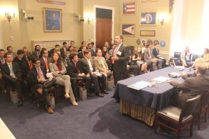 Mike Garvin, Patterson-UTI, presents during the lunch and learn event IADC hosted on Capitol Hill