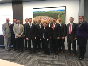On 12 May, several Houston-based members of IADC met with U.S. Senator Heidi Heitkamp of North Dakota to discuss issues of interest to the U.S. oil and gas industry. From Left: Bob Warren, IADC; Jason McFarland, IADC; Jim Rocco, IADC; Tony Seeliger, Pacific Drilling; Mike Lawson, Rowan; Mike Bowie, GE Oil & Gas; Lyndol Dew, Diamond Offshore Drilling; Senator Heitkamp; Paul Mosvold, Scandrill, Inc.; Mike Garvin, Patterson-UTI Drilling Company; Mike Holcomb, Patterson-UTI; GUY, Patterson-UTI Drilling Company; Hilary Burden, Patterson-UTI Drilling Company.