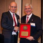IADC president/CEO Steve Colville (left) presents 2012 IADC chairman Dan Rabun with a plaque in appreciation of his year of service at the IADC Annual General Meeting, 7-9 November in Scottsdale, Ariz.