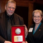Chevron's Goran Andersson celebrates his IADC Exemplary Service Award with Brenda Kelly, IADC senior director of program development, at the association's Annual General Meeting in November.